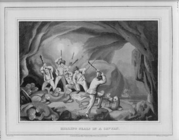 Image: An illustration showing the killing of seals in a cavern