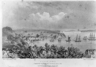 Image: Lithograph by Joseph Merrett looking west over Commercial Bay...1841