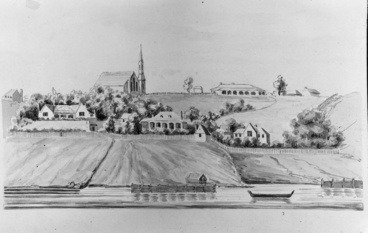 Image: Drawing by Lt Col R H Wynyard showing St Pauls Church...1849