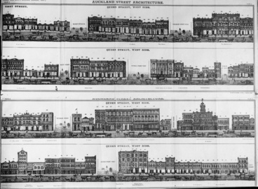 Image: Drawings of buildings in Queen Street west side and Greys Avenue...1887