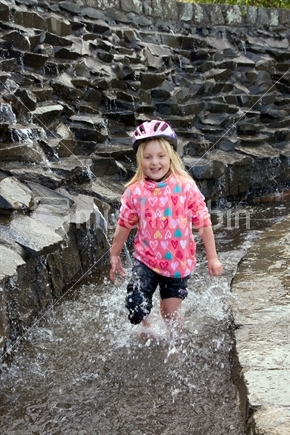 Image: Girl cooling off after a bike ride