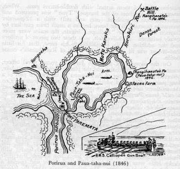 Image: 1846 map of Wellington war sites around Pāuatahanui