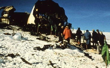 Image: Air New Zealand plane fuselage on Mt Erebus