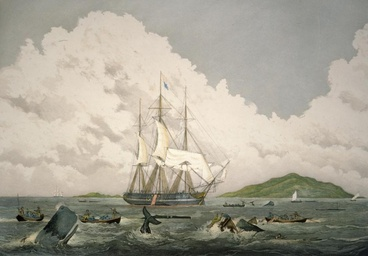 Image: South seas whaling painting, 1820s
