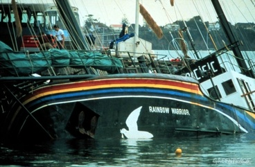 Image: Rainbow Warrior after the bombing