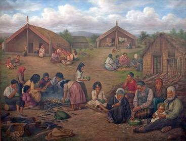 Image: Meal time in a Māori village