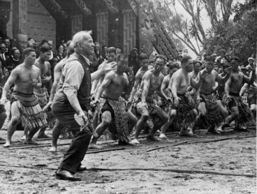 Image: Apirana Turupa Ngata taking the lead in a haka on Waitangi Day 1940