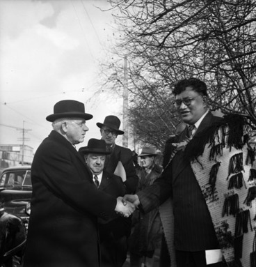 Image: Tapihana Paraire Paikea (right) welcomes prime minister Peter Fraser to the opening of the Maori Community Centre, Auckland, June 1949
