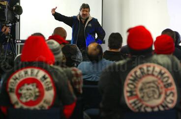 Image: Pita Sharples talks to gang members, 2004