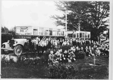 Image: First day of opening of Waitaki Boys' Junior High School. Giffin's Motor Service buses.
