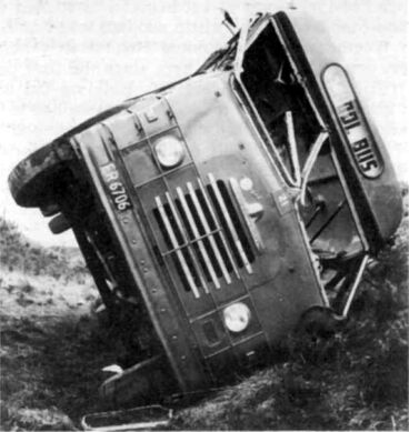 Image: Foxton school bus on its side, 1965