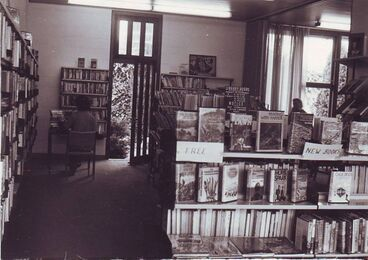 Image: Interior of Shannon Library looking toward back door, mid 1970's