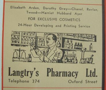 Image: Advert for Lanntry's Pharmacy Ltd - from Wises Levin Map 1950s .JPG