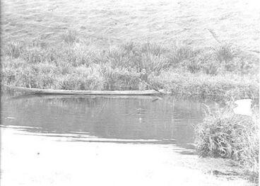 Image: Hokio Stream, H.H. McDonald in Maori canoe