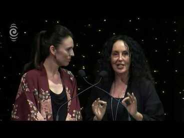 Image: Moana Maniapoto and Jacinda Ardern present the APRA Maioha Award | Silver Scrolls 2017