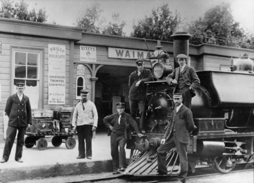Image: Waimate Railway Staff, Station and Locomotive