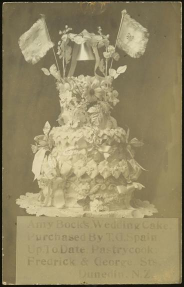 Image: Photographic postcard of Amy Bock's Wedding Cake