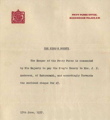Image: King's Bounty Letter 1937