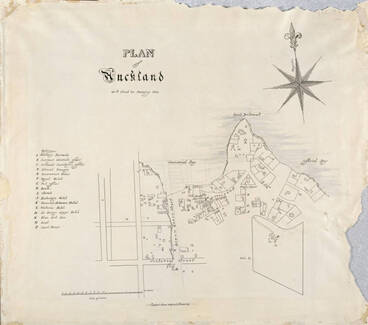 Image: Plan of Auckland as it stood in January 1842.