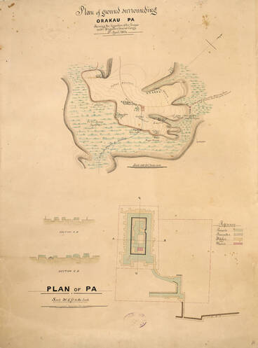 Image: Plan of ground surrounding Orakau Pa, shewing the disposition of the troops under Brigadier General Carey, 2nd April 1864 [and] Plan of Pa [by] Robert S. Anderson 8th July 1864