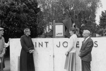 Image: Unveiling plaque, St Josephs Catholic Church, Takapuna.