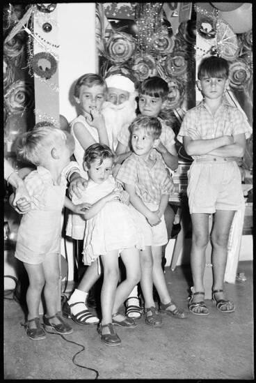 Image: Children sitting on Santa's knee, 1959