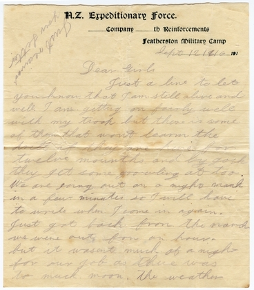 Image: Letter from Featherston Military Camp