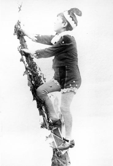 Image: A boy in costume climbing a ladder