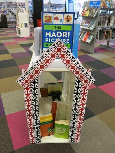 Image: Te Wiki o te Reo Māori display at Central LIbrary Peterborough