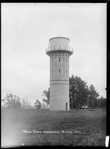 Image: Water tower at Cambridge, circa 1913-1915