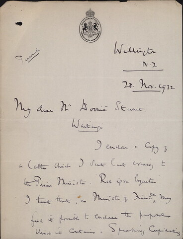 Image: Lord & Lady Bledisloe announce the gift of land and Treaty House at Waitangi to the nation 1932