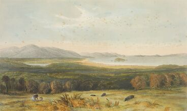 Image: Port Nicholson from the hills above Pitone in 1840.