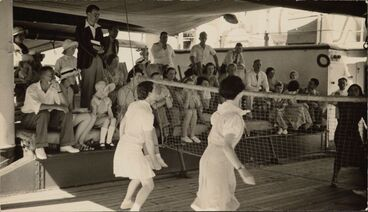 Image: Deck tennis onboard the SS Arawa