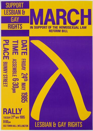 Image: 'March in Support of the Homosexual Law Reform Bill' poster