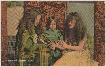 Image: Maori girls playing whai