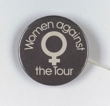 Image: 'Women against the Tour' badge