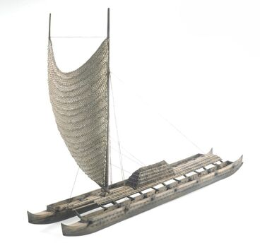 Image: Model wa'a kaulua (sailing canoe from Hawaiian Islands)