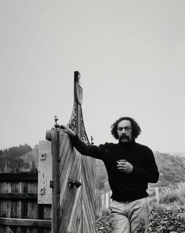 """Image: Ralph Hotere outside """"first studio"""" on Flagstaff, Port Chalmers"""