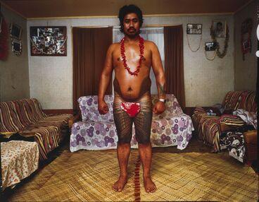 Image: Su'a Suluape Paulo, Tufuga ta tatau. Paul's nephew Jim at Suluape's house.