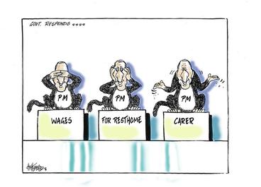 Image: Hubbard, James, 1949- :Govt responds.... Wages for resthome carer. 29 May 2012