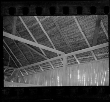 Image: Inside view of a locals' hut roof made of weaved palm fronds, Rarotonga, Cook Islands