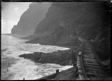 Image: Section of the beach tramway between Karekare and Whatipu, Auckland