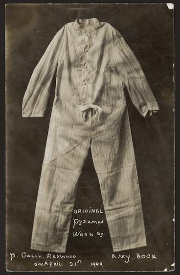 Image: Men's pyjamas worn by Amy Bock as Percy Carol Redwood