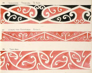 Image: Godber, Albert Percy, 1876-1949 :[Designs for rafter patterns]. 126. Tuhourangi, Rangiuru, Te Puke; 127. Uenuku-Mai-Raratonga, Rotoiti; 128. Toka-Anu. [1940-1942?].