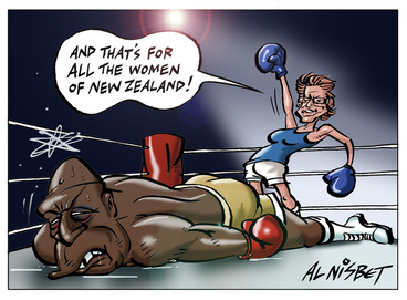 Image: Nisbet, Alastair, 1958- :'And that's for all the women of New Zealand!'. 13 October 2012
