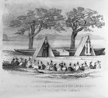 Image: Artist unknown :Natives assembled to celebrate the Lord's Supper at Orona, Taupo, New Zealand. [1845]