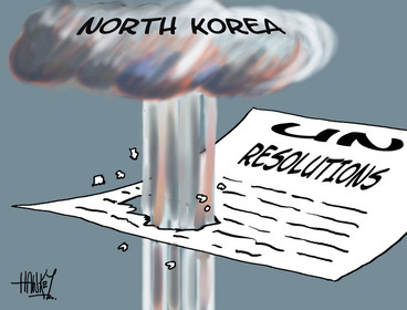 Image: Hawkey, Allan Charles, 1941- :[North Korea UN Resolutions] 15 February 2013