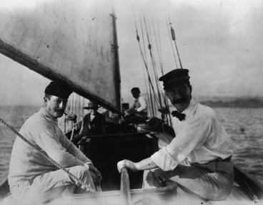 Image: Mr Kebbell and Alexander Turnbull, on board Turnbull's yacht Rona