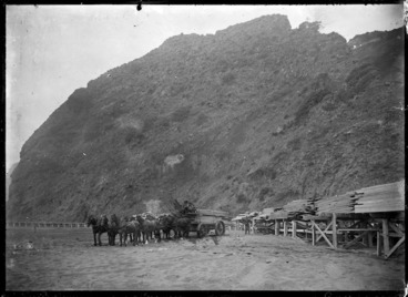 Image: A section of the beach tramway between Karekare and Whatipu, showing a horse-drawn wagon carting sawn timber on the beach.