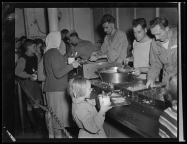 Image: Polish refugees being served a meal, at children's refugee camp, Pahiatua